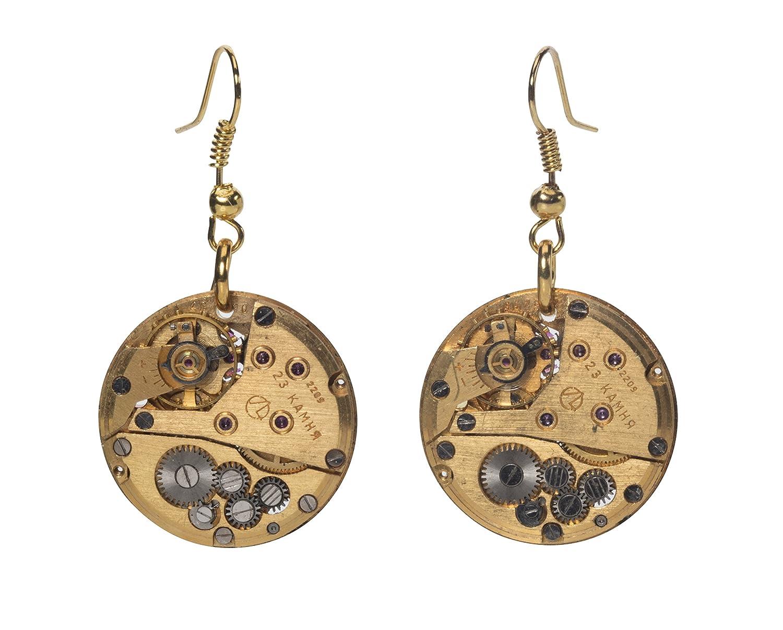 Runde Steampunk Ohrringe in Gold Einzigartige ungewöhnliche Geschenkidee