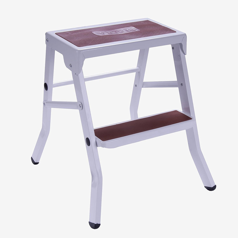 vicris taburete escalera plegable peldaos acero blanco rojo