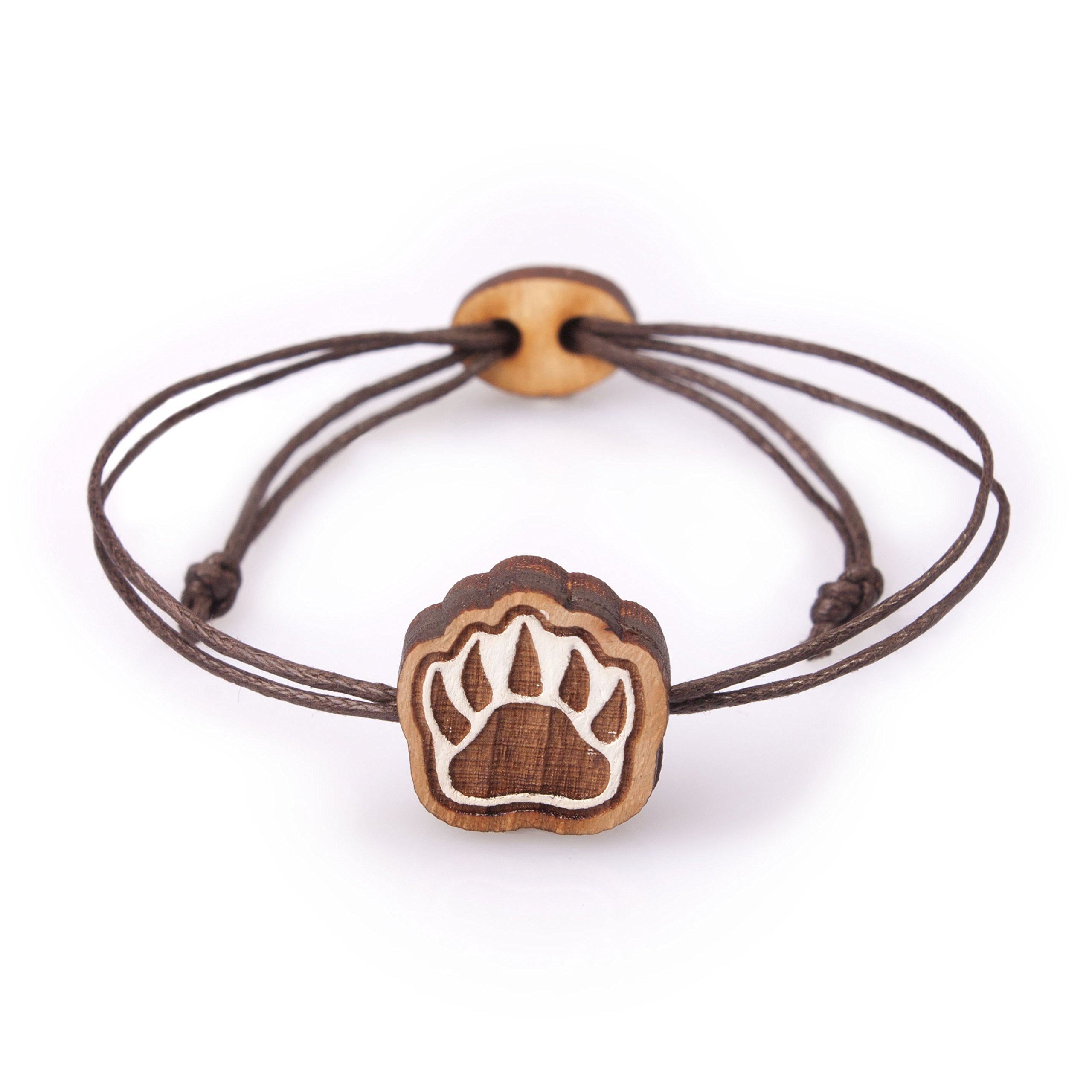 Men and Women Bracelet with Wooden Bear Paw Sign on Brown Wax Cotton Cord Adjustable Size by Waf-Waf