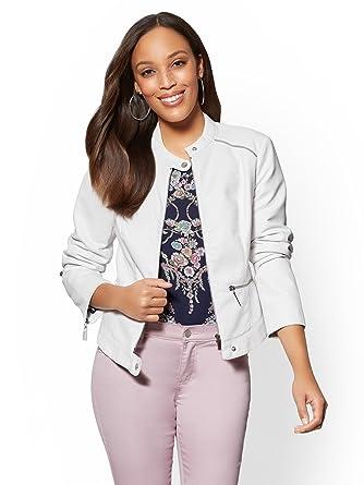 New York & CO. Women\'s Faux-Leather Moto Jacket at Amazon Women\'s ...