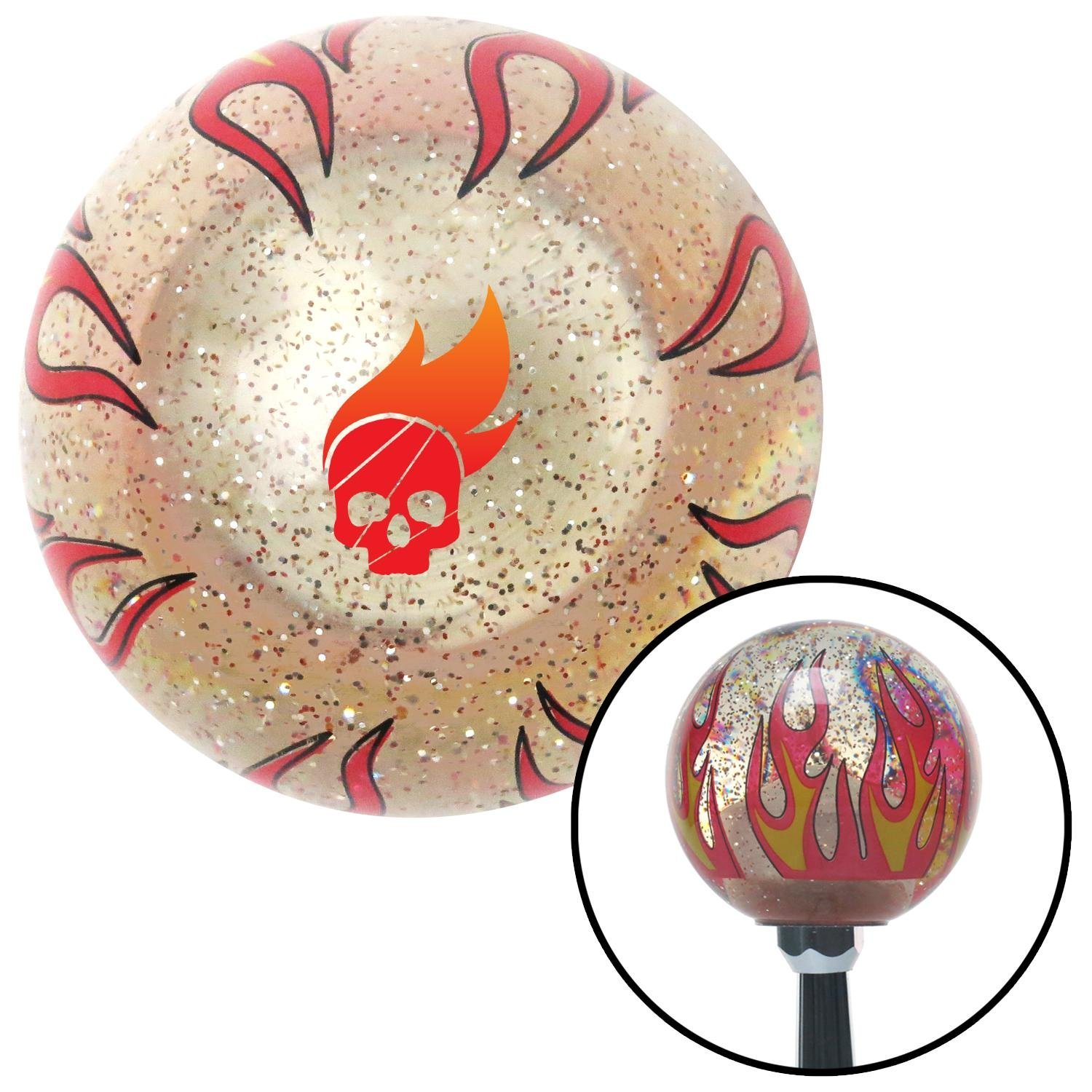 American Shifter 296112 Shift Knob Skull Flame in Color Clear Flame Metal Flake with M16 x 1.5 Insert
