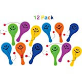 Mini Plastic Smile Face Paddle Balls - Pack Of 12 - 4.75 Inches Assorted Bright Colors – Fun Game - For Kids Boys And Girls, Great Party Favors, Bag Stuffers, Fun, Toy, Gift, Prize – By Kidsco