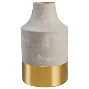 "Rivet Modern Stoneware Vase, 12""H, Cement with Electroplated Gold Finish"