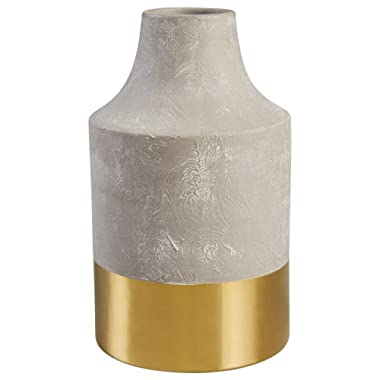 Rivet Modern Stoneware Home Decor Flower Vase - 12 x 7.25 Inch, Cement and Gold