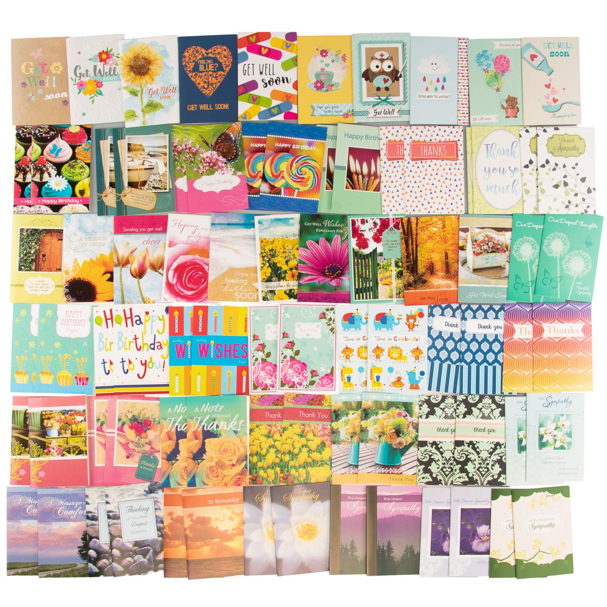 Paper Craft (80 Count) Assorted Variety Boxed All Occasion Greeting Cards With Envelopes Birthday Get Well Sympathy Thank You Cards by Paper Craft