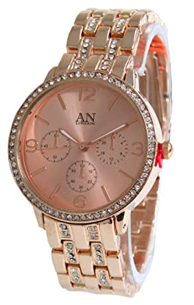 d9253433c582 Rose Gold Color Designer Fashion Watch with Stone Setting both on Bezel and  Metal Band-