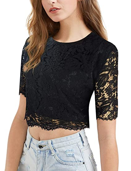 7fc51d34f0 modase Women's Short Sleeve Sexy Semi Sheer Blouse See Through Floral Lace  Top