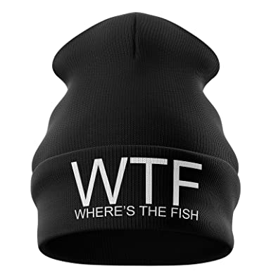 4d868987 Fishing Gifts for Men - WTF Wheres The Fish Embroidered Carp Fishing Beanie  Hat Mens Presents