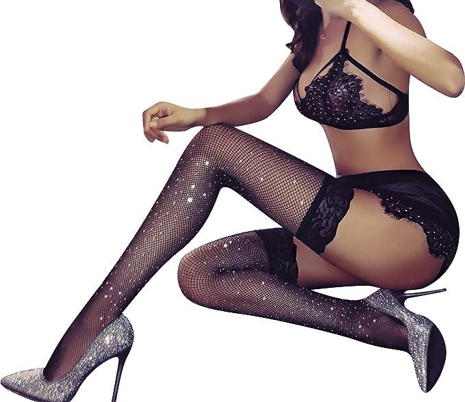 6ff5a380a3d TGD Women s Rhinestone Fishnet Tights Suspender Pantyhose Thigh High  Stockings (W31 Black)