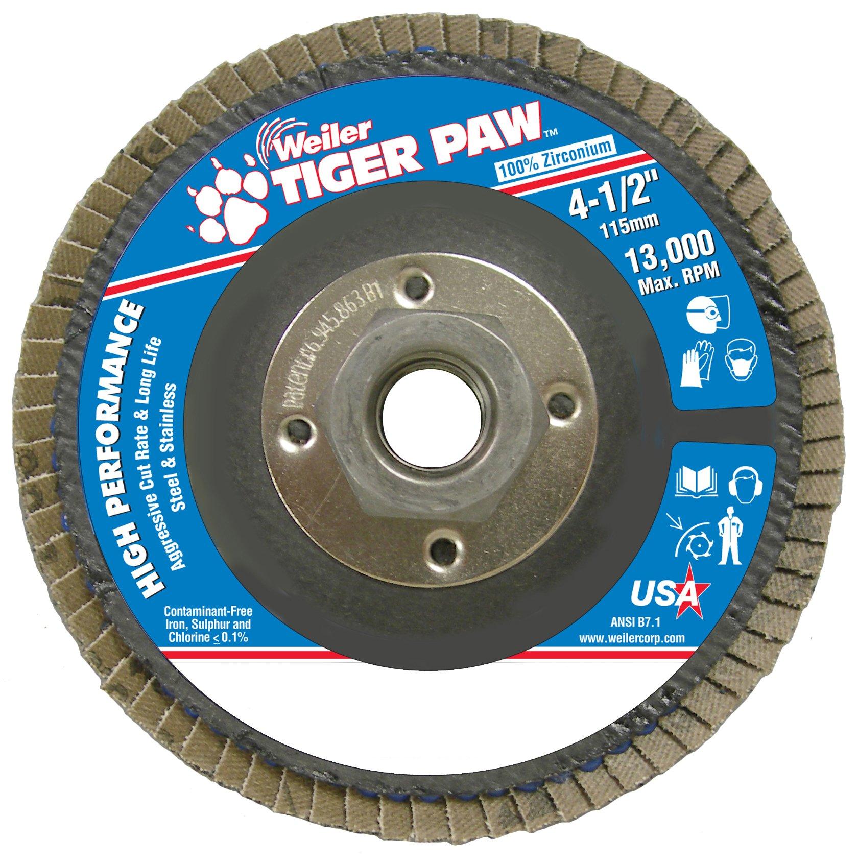 Weiler 51112 Tiger Paw High Performance Abrasive Flap Disc, Type 27 Flat Style, Phenolic Backing, Zirconia Alumina, 4-1/2'' Diameter, 5/8''-11 Arbor, 36 Grit, 13000 RPM (Pack of 10)