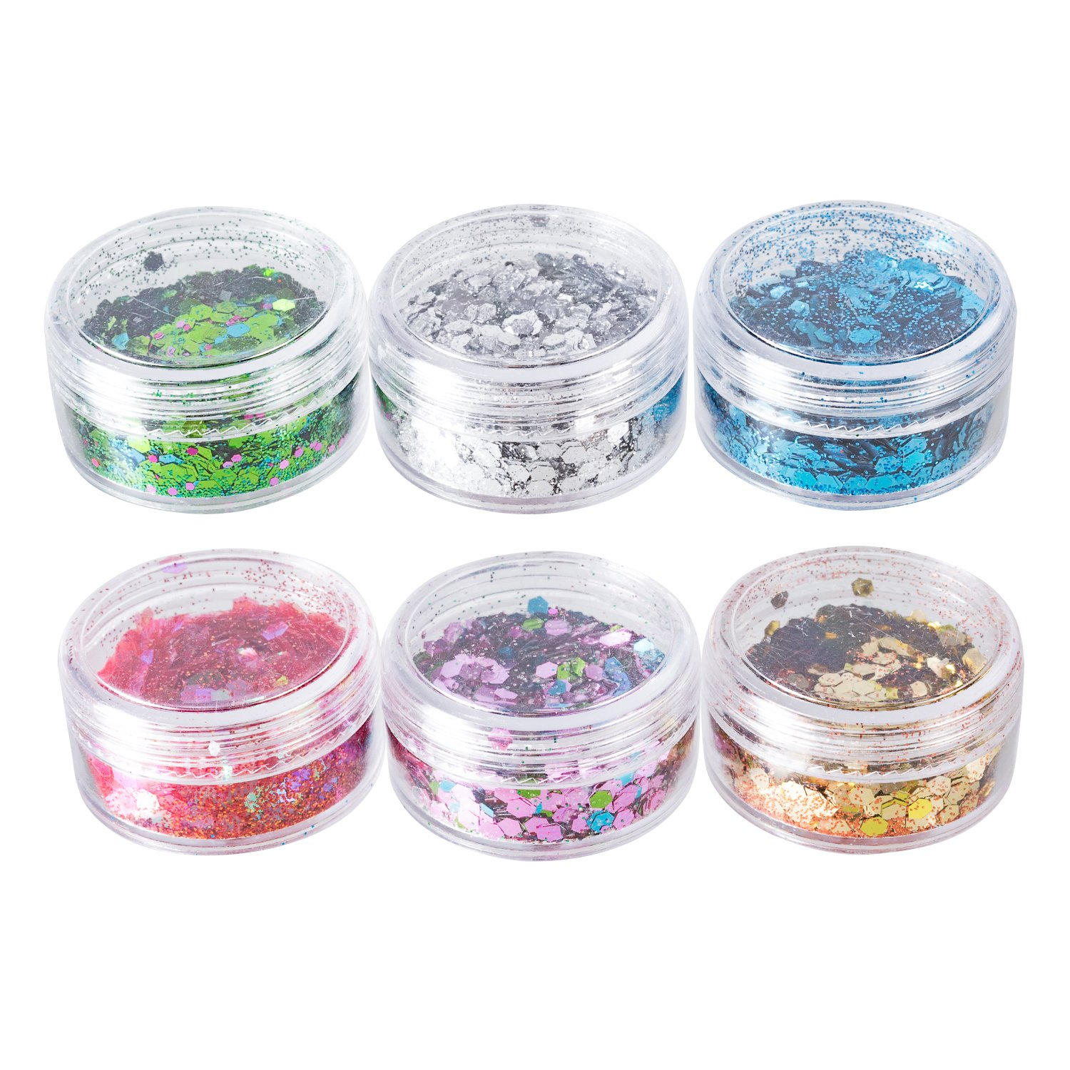 Deoot Mix Chunky Glitter Makeup Festival Glitter for Face Body Hair Nail (6 Boxes)