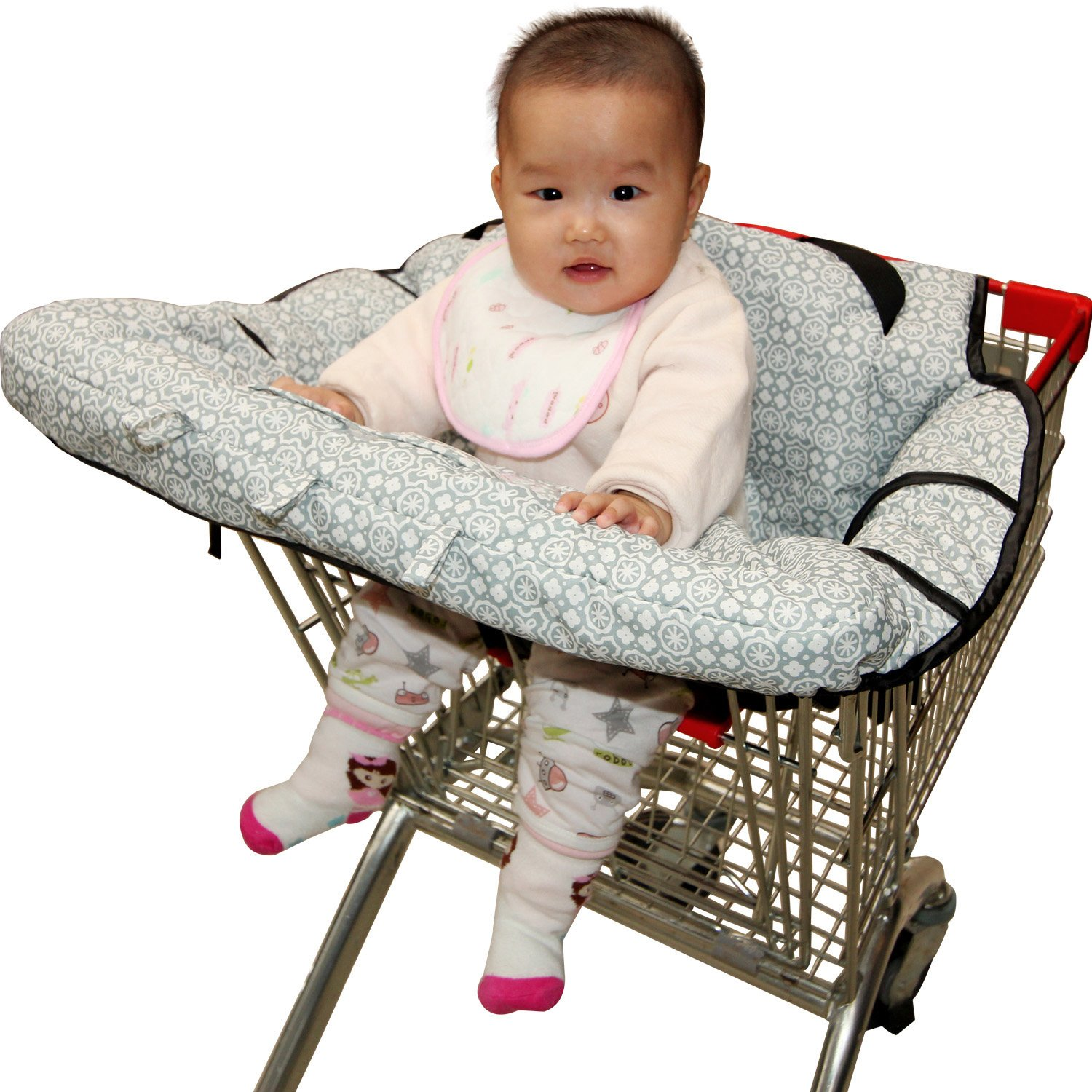 High Chair Cover for baby, Fushop 2-in-1 baby Waterproof shopping cart cover, Grocery Cart Cover with safety belt, Seat positioner for infant, toddler(Large)