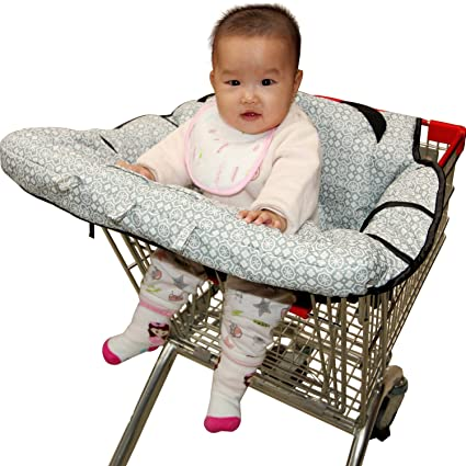 Amazon.com : High Chair Cover for baby, Fushop 2-in-1 baby Waterproof shopping cart cover, Grocery Cart Cover with safety belt, Seat positioner for infant, ...