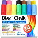 Chalk Markers with extra gold and silver ink from Blami Arts. Set of 14 shiny neon liquid chalk pens with reversible bullet and chisel fine tip. Free Your Imagination with unique paint colored chalkboard markers Now!