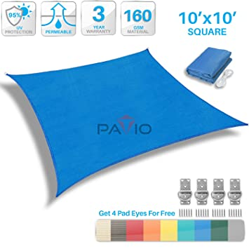 Patio Paradise 10u0027x10u0027 Blue Sun Shade Sail Square Canopy   Permeable UV  Block