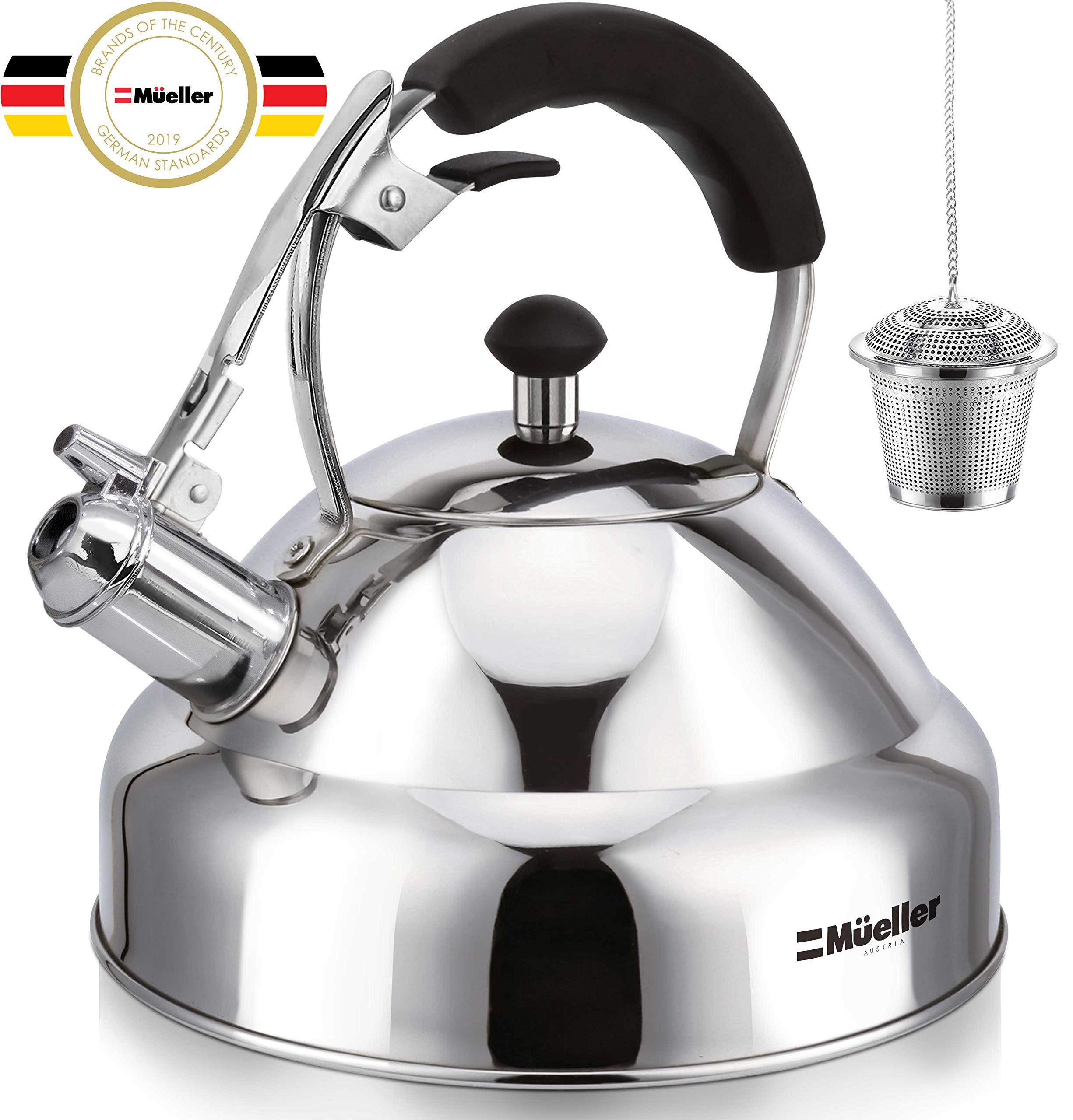 Stove Top Whistling Tea Kettle - Only Culinary Grade Stainless Steel Teapot with Cool Touch Ergonomic Handle and Straight Pour Spout - Tea Maker Infuser Strainer Included by Mueller Austria (Image #1)