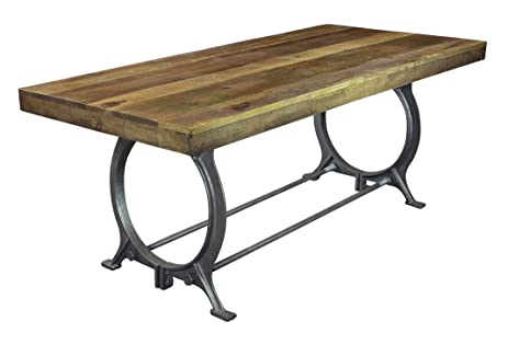 Natural Reclaimed Wood Dining Table With Iron Base