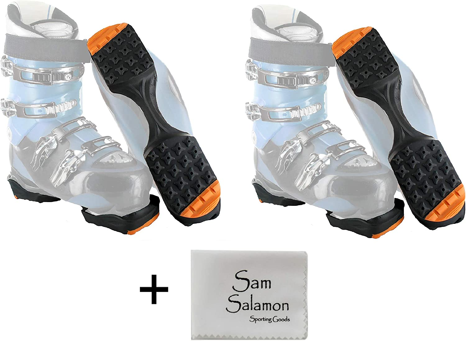 Yaktrax SkiTrax Ski Boot Tracks Traction and Protection Cleats (2 Pair) w/Micro Sam Salamon Cloth