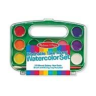 Melissa & Doug Take-Along Watercolor Paint Set - 12 Washable Paints