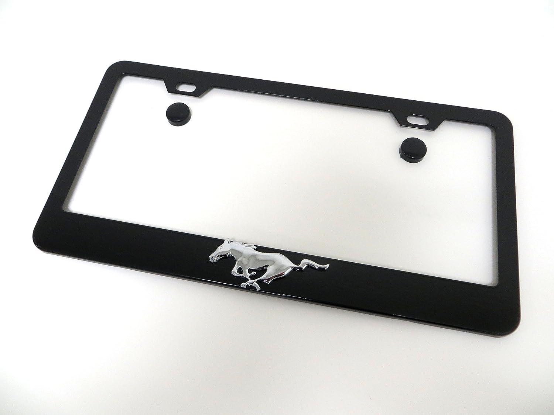 Ford Mustang Cover Chrome Black Metal License Plate Frame Holder