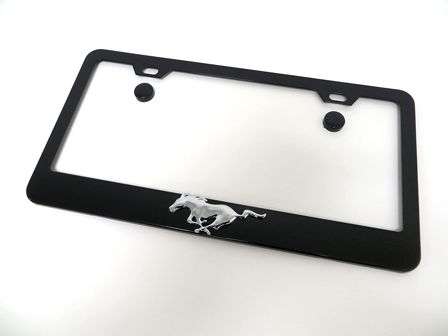 3D Pony Running Horse Black Metal License Plate Frame Tag Holder with Screw Cap Covers Fit Mustang