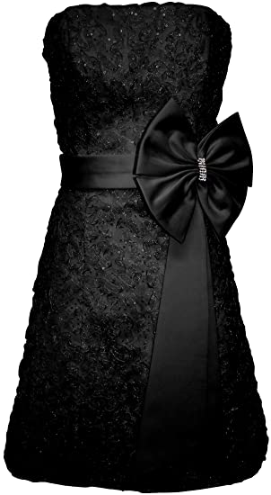 Amazon Applique Ribbon Strapless Prom Little Black Dress With