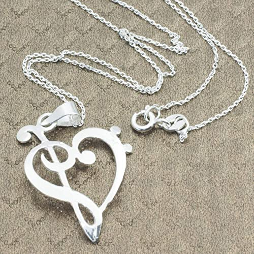 ad204cb604c1 Collar de Plata de 1ªLEY 925. Cadena con chapa corte laser nota musical.  Corazón