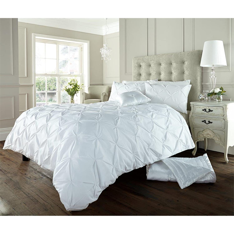 Just contempo ruffled duvet cover set super king white