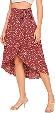 SheIn Women's Boho Ditsy Floral Knot High Waisted Wrap Split Midi Skirt