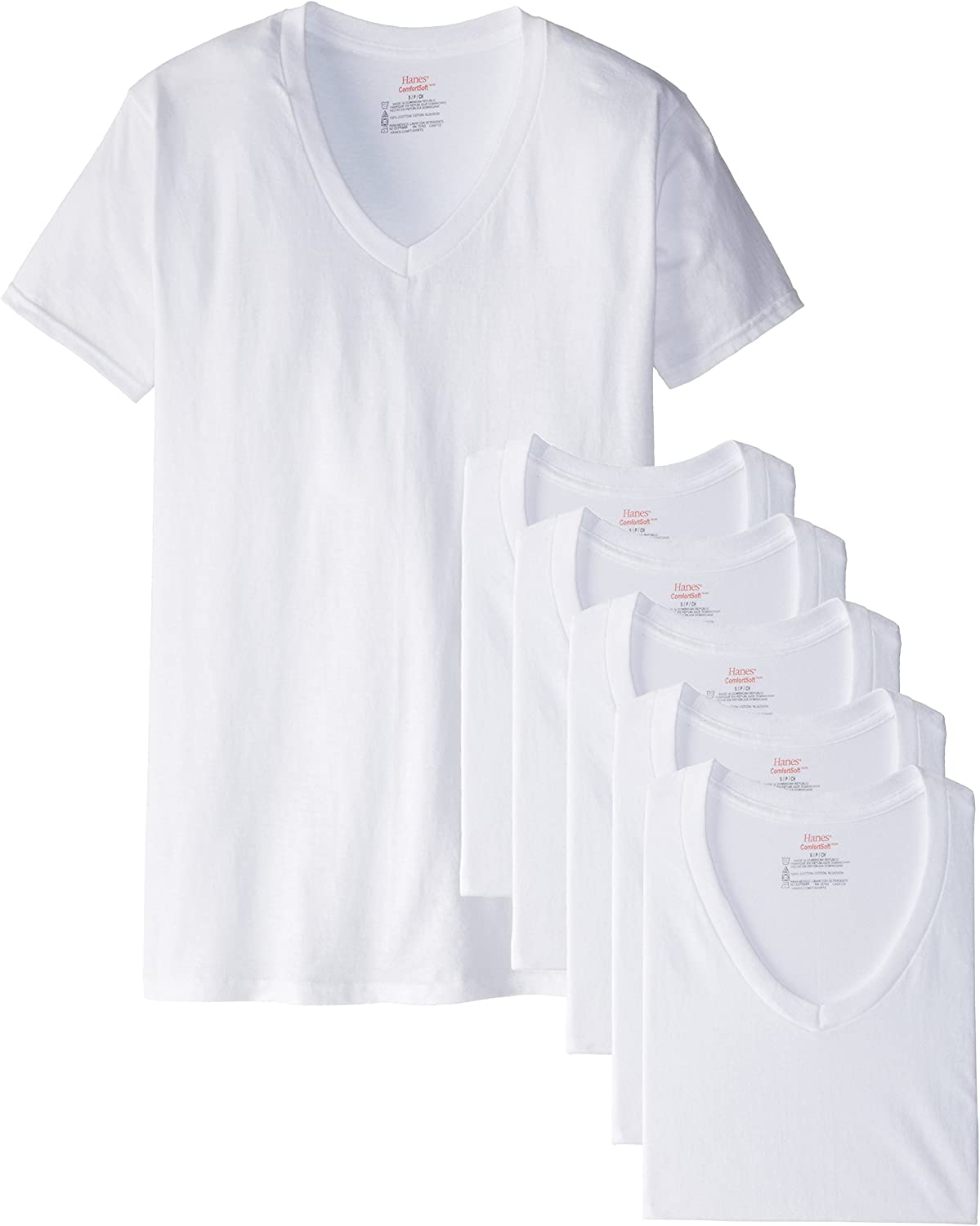 Hanes Men's White and Assorted V-Neck T-Shirts
