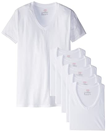 6dce4a55 Hanes Men's FreshIQ V-Neck T-Shirts (Pack of 6): Amazon.in: Clothing ...