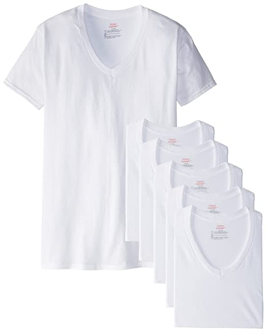 32e7a781491d Hanes Men's White and Assorted V-Neck T-Shirts at Amazon Men's Clothing  store: