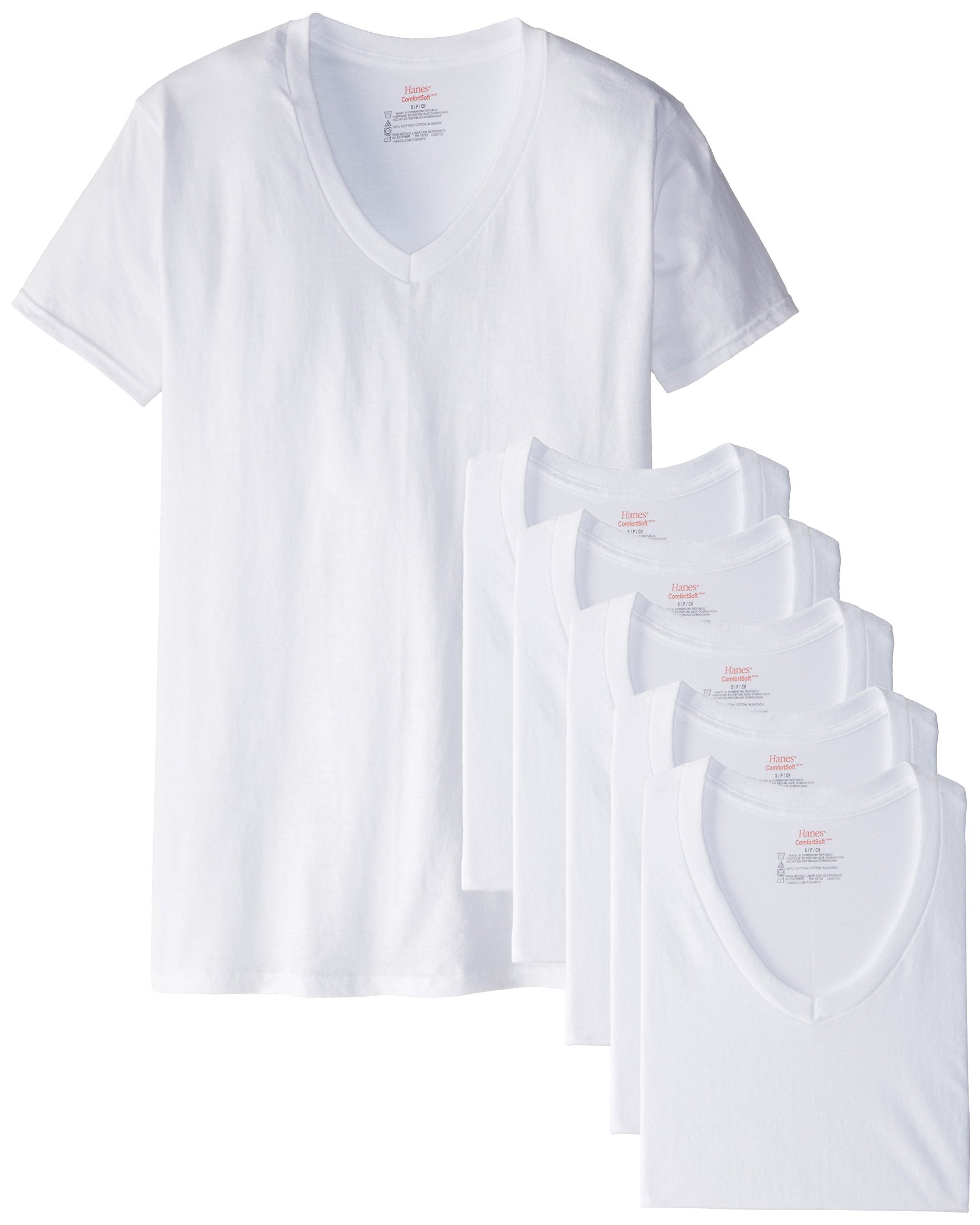 Hanes Men's 6 Pack FreshIQ V-Neck T-Shirt, White, Medium