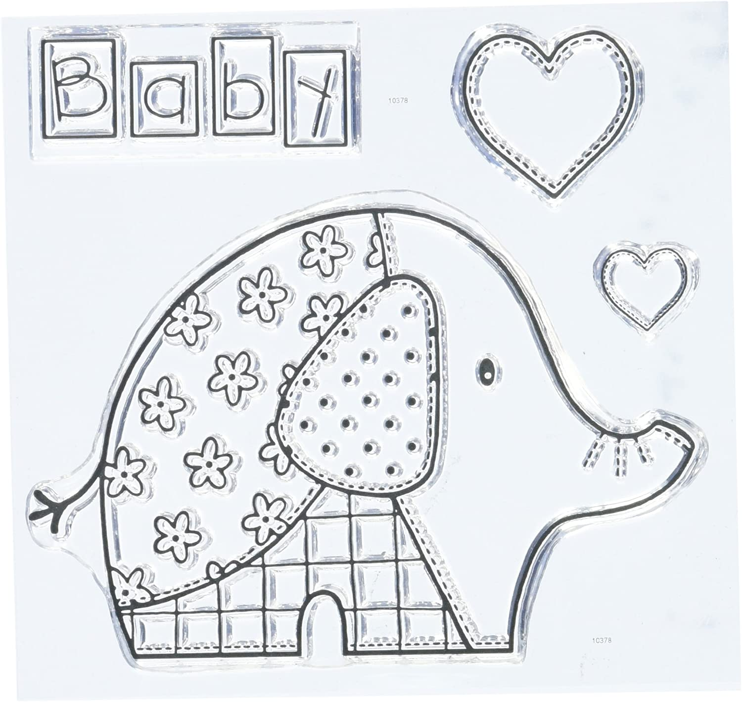 Woodware Clear Acrylic Stamp Set BABY ELEPHANT hearts set of 4 stamps