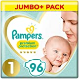 Pampers New Baby 96 Nappies, 2-5 kg, Size 1