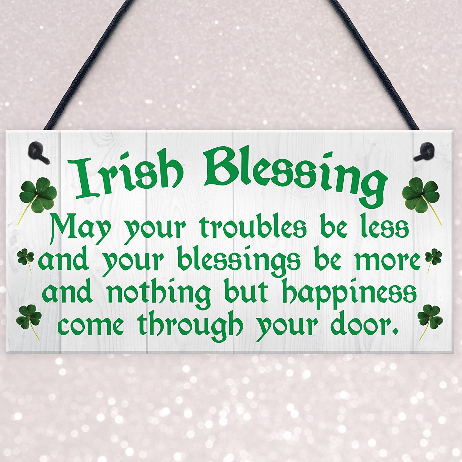 Red Ocean Irish Blessing Happiness Friendship Gift Plaque St Patricks Day Lucky House Sign