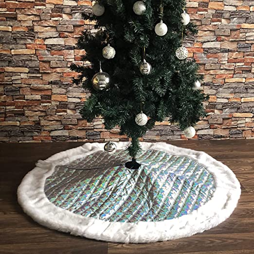 PICTURESQUE Falda Árbol de Navidad Tartán Plateado Decoración para ...