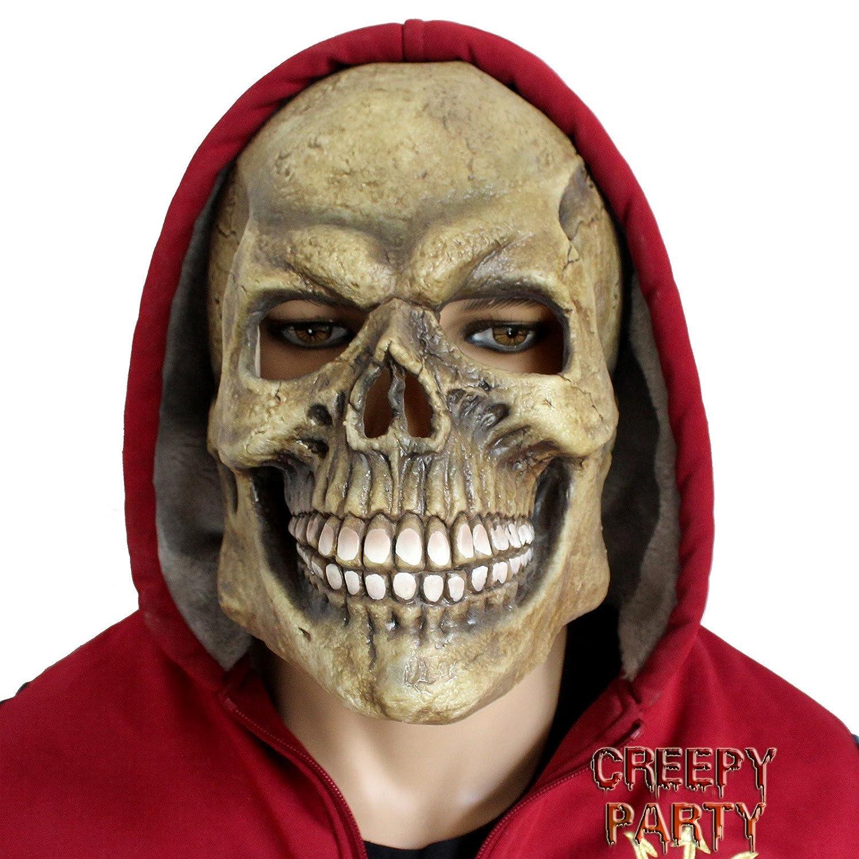 amazoncom creepyparty deluxe novelty halloween costume latex head mask skull head toys u0026 games