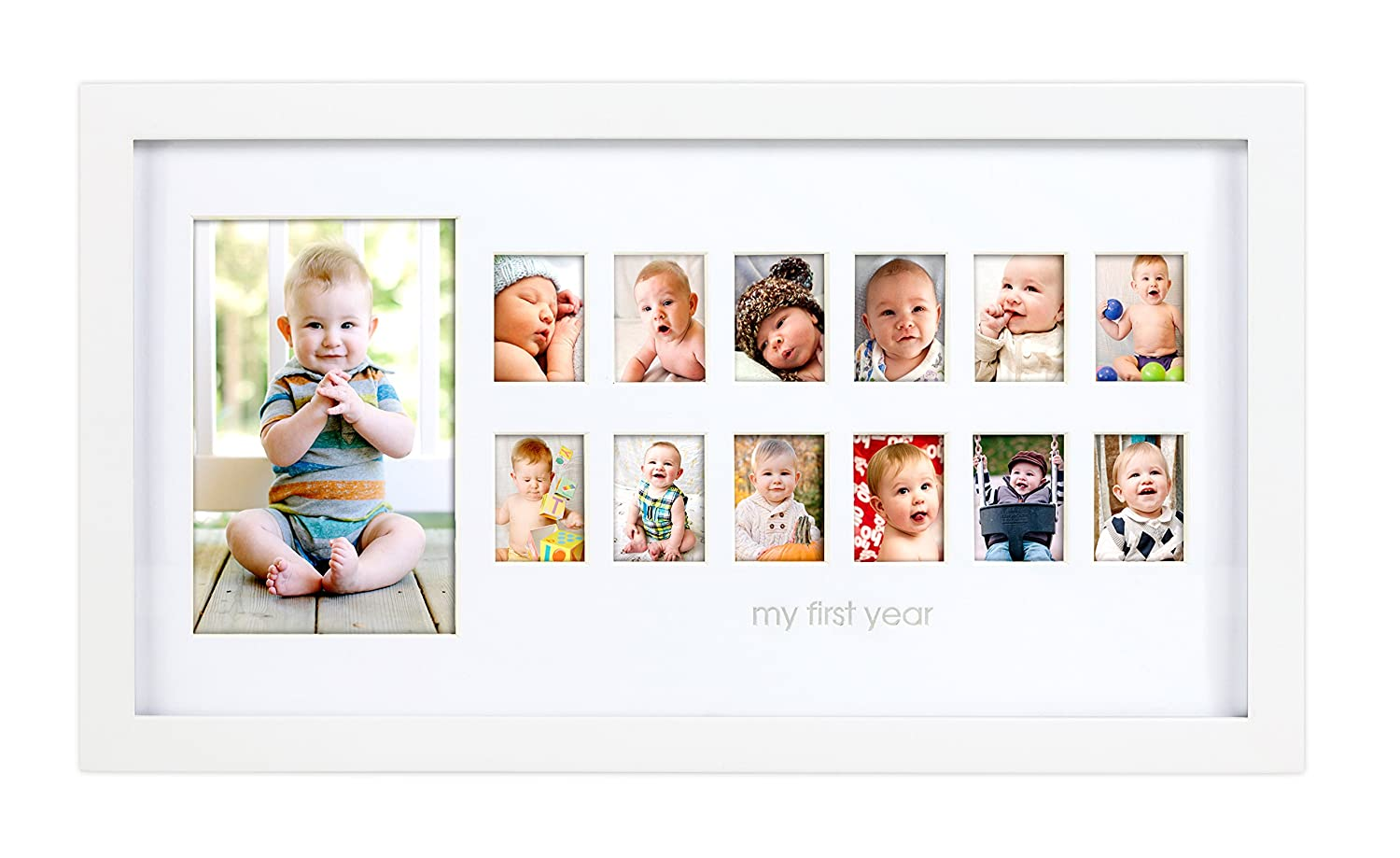Pearhead My First Year Photo Moments Baby Keepsake Frame, White Pearhead Inc. P63008