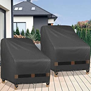 GARDRIT Patio Chair Covers, Heavy Duty Waterproof 600D Oxford Fabric Outdoor Chair Covers, All-Weather Resistant Patio Furniture Covers, Lounge Deep Seat Cover, 35