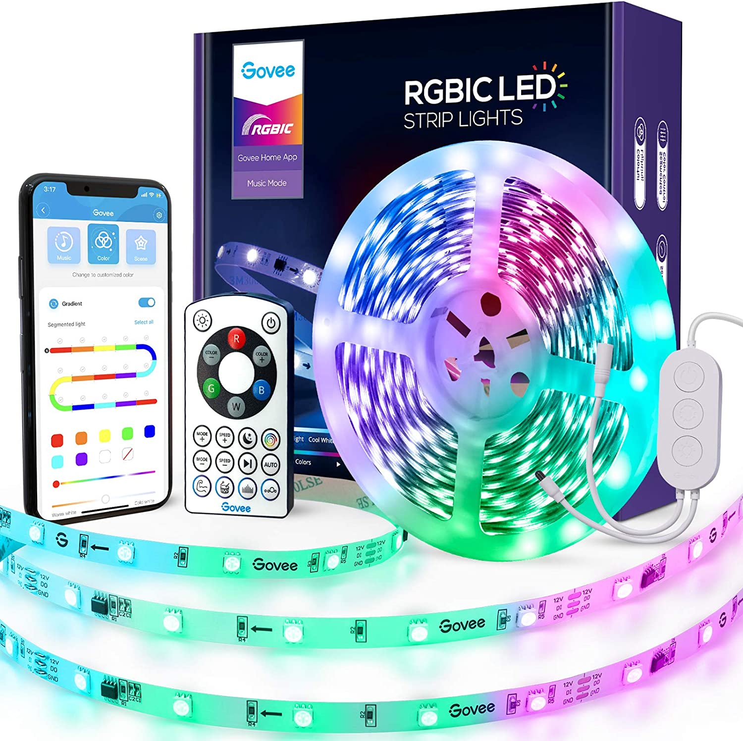 Govee RGBIC LED Strip Lights, Smart WiFi LED Light Compatible with Alexa, Google Assistant, APP Segmented Control, IR Remote Control Music Sync Lights for Bedroom, Office, Kitchen Decor, 16.4 Feet