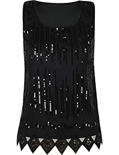 73d385eb83359c PrettyGuide Women's Sequin Top Flowy Sparkly Cocktail Tank Party Dressy Tops