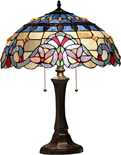17 H Tiffany Style Stained Glass Rustic Hurricane Lamp