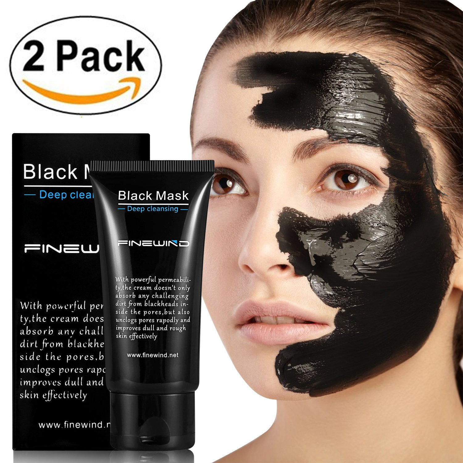 Blackhead Remover Cleaner Purifying Deep Cleansing Acne Black Mud Face Mask Peel-off (2 PCS) Finewind