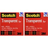 Scotch Brand Transparent Tape, Engineered for Office and Home Use, Clear Finish, Doesn't Yellow, Versatile, Narrow Width, 1/2 x 1296 Inches, 2 Rolls (600H2)