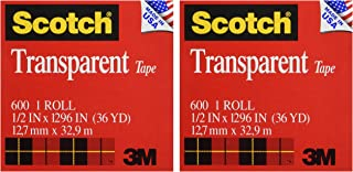 product image for Scotch Transparent Tape, 1/2 in x 1296 in, 2 Boxes/Pack (600)