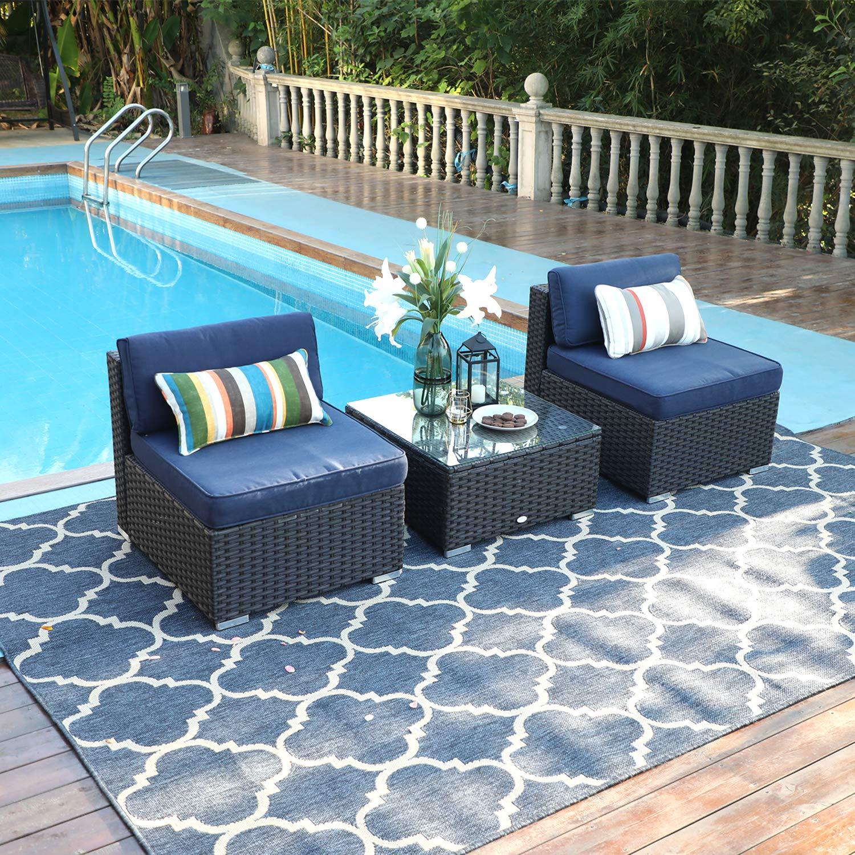 PHI VILLA 3-Piece Patio Furniture Set Rattan Sectional Sofa with Tea Table, Blue