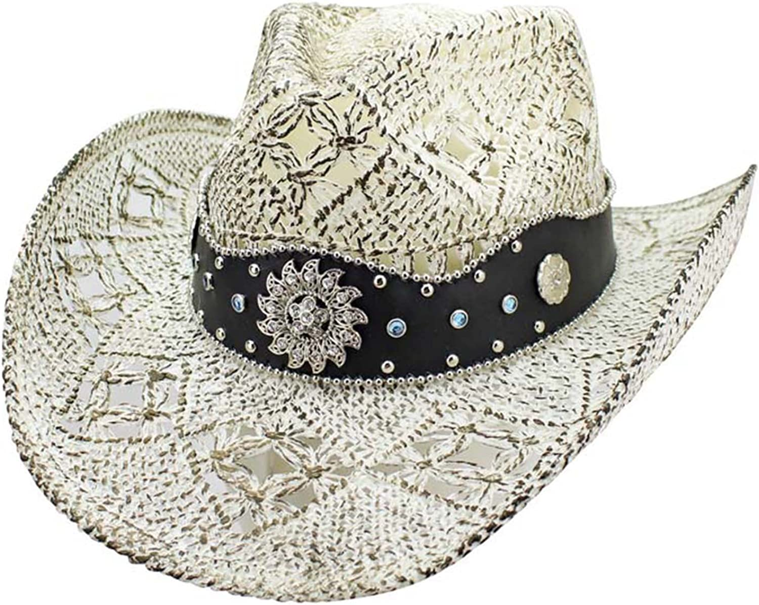 Luxury Divas White Antiqued Straw Cowboy Hat with Jeweled Band