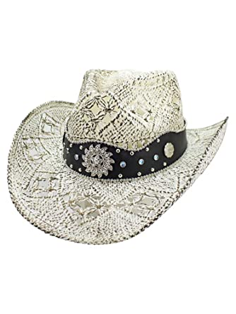 59ff9be963b Luxury Divas White Antiqued Straw Cowboy Hat with Jeweled Band Size Small