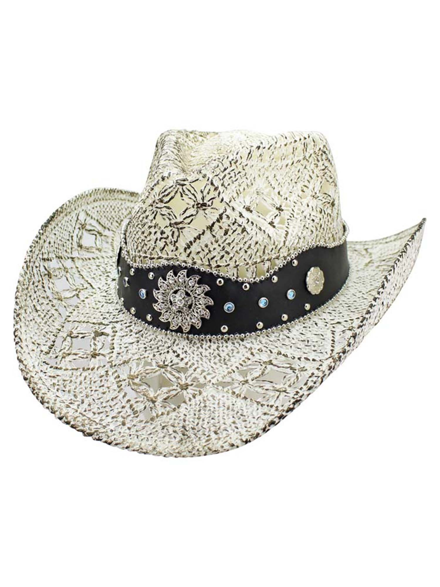 Luxury Divas White Antiqued Straw Cowboy Hat with Jeweled Band Size Small